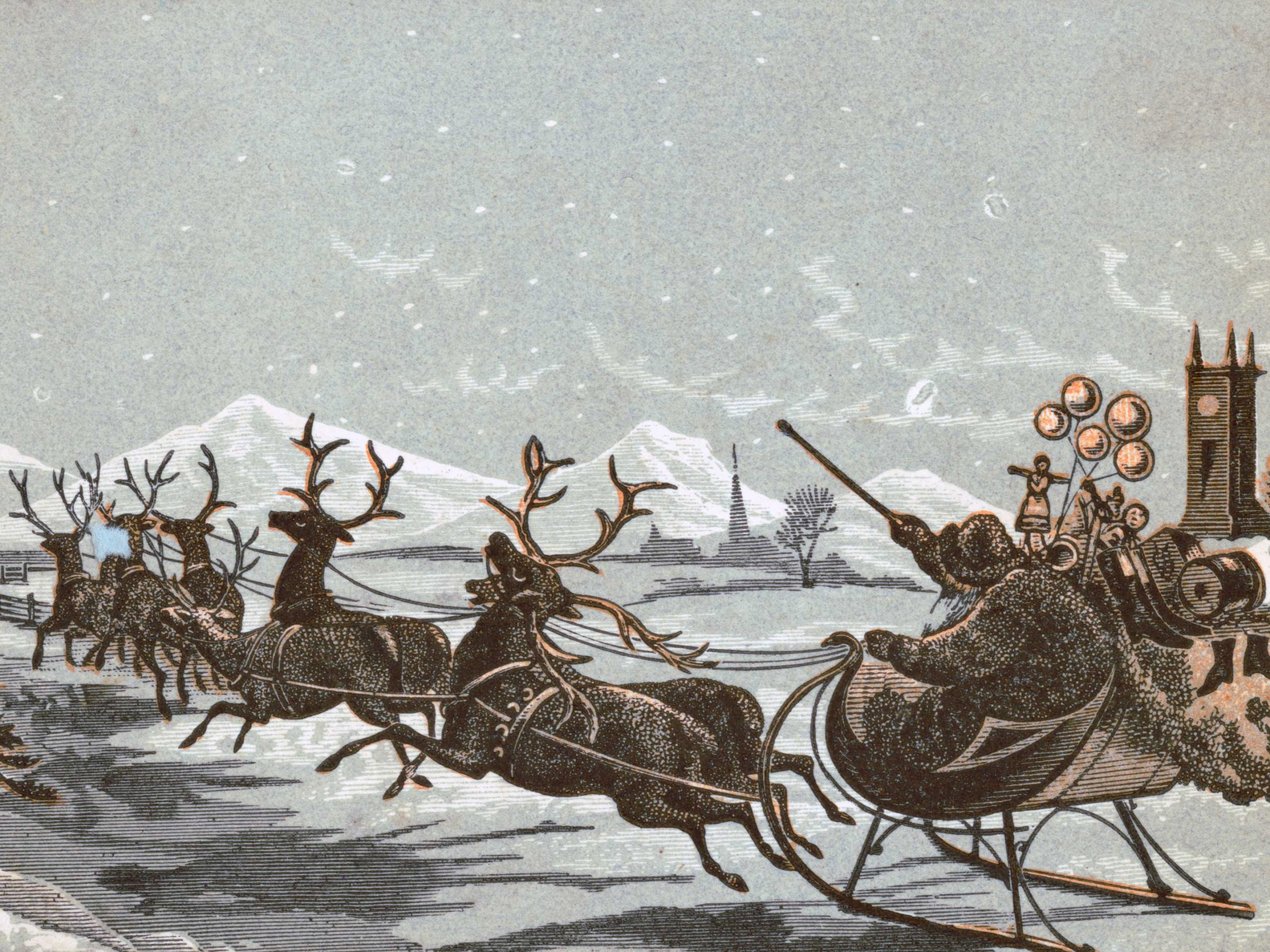 Santa Claus and his reindeer.   Library of Congress - cc pdm.